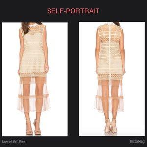 SELF-PORTRAIT Layered Shift Dress